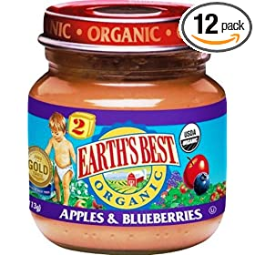 Earth's Best  Organic Apple & Blueberry (6 Months & Up) Baby Food, 4-Ounce Jars (Pack of 12)