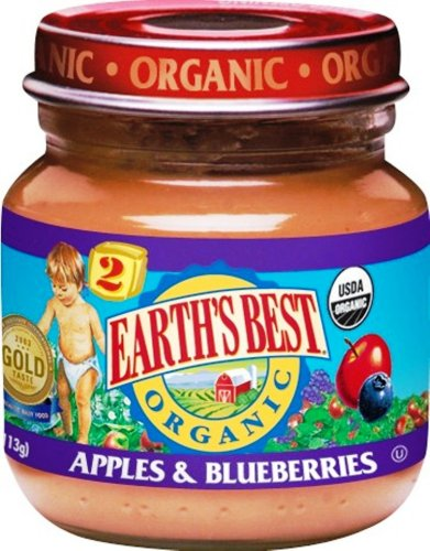 Earth's Best Organic 2nd Apple & Blueberry, 4-Ounce Jars (Pack of 12)
