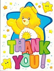 CARE BEARS Thank You Cards - Package of 10 Cards & 10 Envelopes