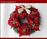 人気 クリスマスリース 32cm 造花 ポインセチア クリスマス W-286 飾り リース