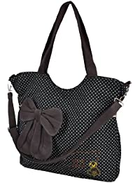 Banggood Folding Black White Bowknot Dots Print Zip Up Canvas Shopping Shoulder Bag Handbag