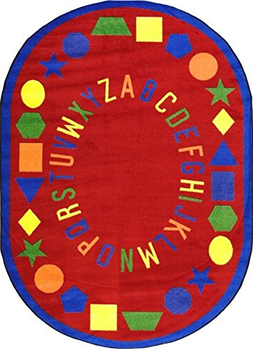 "Baby Beginnings Abc'S Premium Cut Pile Stainmaster Nylon Area Rug (Oval 5'4""X7'8"", Red) front-975309"