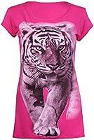 Womens Tiger Animal Printed Ladies Round Scoop Neckline Short Sleeve Stretch T-Shirt Top