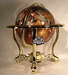 "14"" Tall Amber Pearl Gold Stand Gem Gemstone World Map Globe Globes Maps"