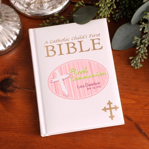 Personalized Pink First Communion Child's First Bible