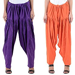 Numbrave Women's Purple-Orange Cotton Full Patiala Salwar (Combo of 2)