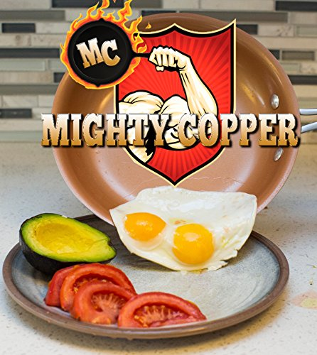MIGHTY COPPER - Non-Stick Ceramic Copper Chef Pan - works with Induction Stoves! Silicone Handle for Comfort and Safety