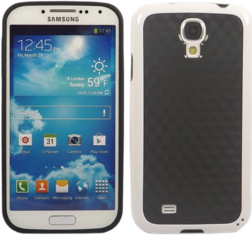 Cube Carbon Gel Fall Decken Haut Für Samsung Galaxy S4 i9500 / Black Cube Carbon White Bumper