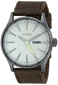 Nixon Sentry Gunmetal-Tone Brown Leather Mens Watch A1051388