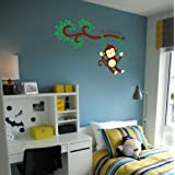 "WallDesign ""Monkey Swing Wall Sticker"" Colour Matte Vinyl Stickers (91.44 X 91.44 CM)"