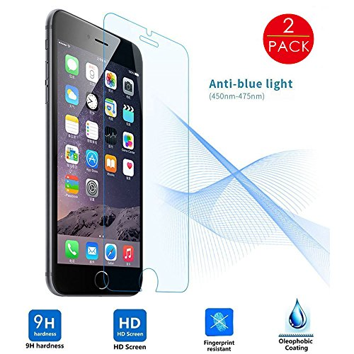 (2 Pack)Screen Protector, MINO ANT 2.5D Anti-Blue Ray Ballistic Premium Tempered Glass Guard Film, Crystal Clear [0.26mm Tempered Curved Glass - 3D Touch Compatible] for iPhone 6 / 6S 4.7