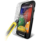 Fone-Case ( Pack Of 1 ) Motorola Moto E Case Brand New Luxury Tempered Glass Crystal Clear LCD Screen Protectors Packs With Polishing Cloth & Application Card