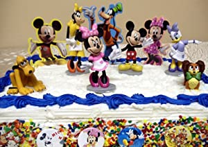 Adorable 15 Piece Mickey Mouse Clubhouse Cake Topper Set Featuring Mickey Mouse, Minnie Mouse, Pluto, Clarabelle Cow, Daisy Duck, Fifi, 3 Decorative Mickey Mouse Cake Pieces, And 6 Mickey Mouse Buttons