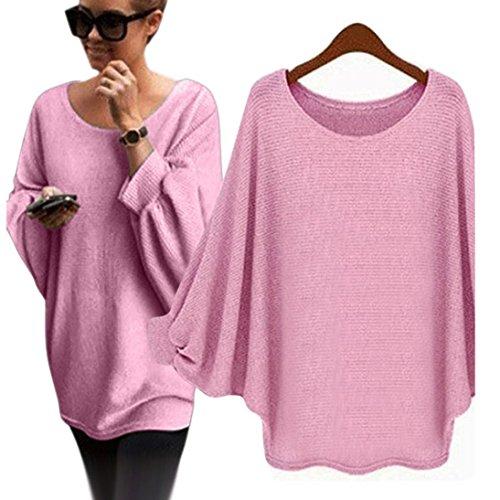 Reasoncool Le donne oversize Batwing lavorato a maglia Pullover allentato maglione (Free Size, Rosa)