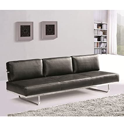 Fine Mod Imports Flat Lc5 Sofa Bed in Black Leather
