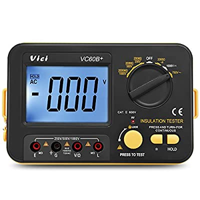 Flexzion Digital Insulation Resistance MegOhmmeter VICHY VC60B+ Tester Megger MegOhmmeter Voltmeter Meter DC 250V 500V 1000V with LCD Display 2 Clip Cables Shoulder Strap Battery Powered