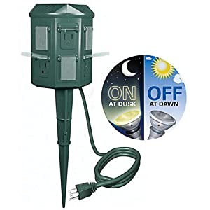Outdoor Christmas Light Yard Power Stake With cell