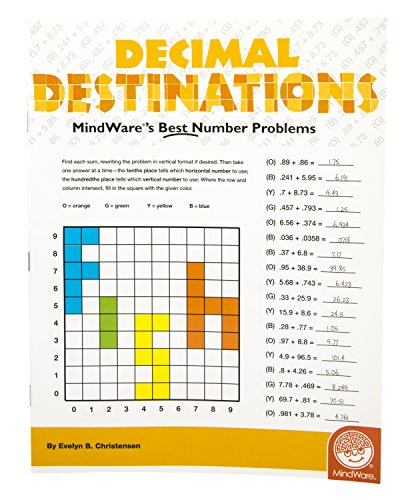 MindWare - Decimal Destinations - 39 Unique Puzzles With 18 to 24 Problems - Teaches Decimals and Addition - 1