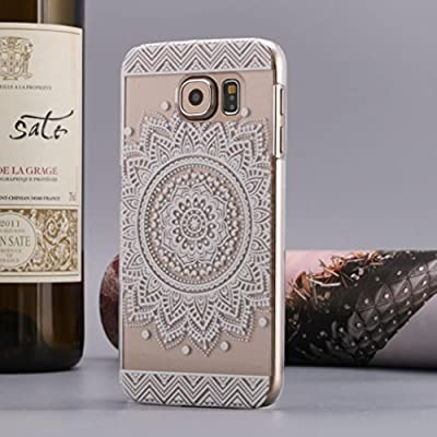 S6 Case,Samsung Galaxy S6 Case,LANDFOX 2PC Carved Cover Damask Vintage Mandala Flower Case for Samsung Galaxy S6 by LANDFOX
