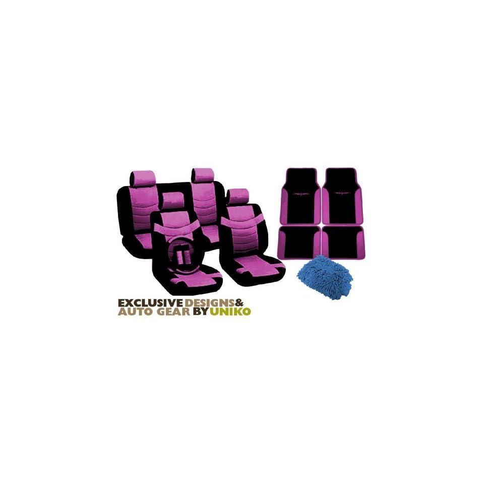 Two Tone PU Synthetic Leather Seat Covers & Floor Mats Set 15pc Black & Pink Superior   2 Front Bucket   Bench   Steering Wheel   Seat Belt Pads   4pc Vinyl Trim Tribal Floor Mats & BONUS DETAILING WASH MITT & AIR FRESHENER