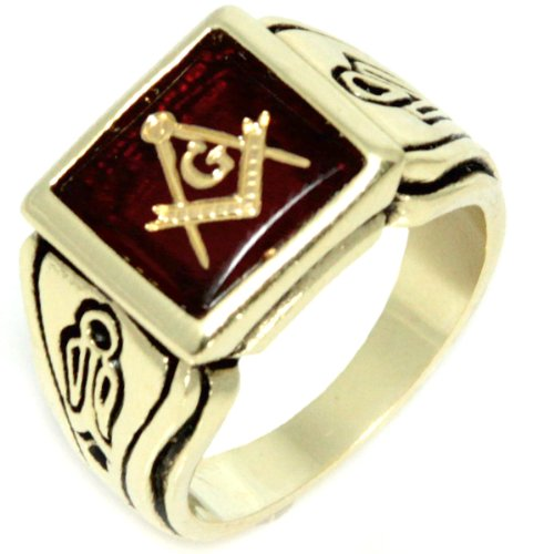 18K Gold Electroplate (Faux Ruby) Red Ruby Stone - Freemason's Jewelry Masonic Rings for Stone Masons / Free Masonry Member. This Free Masons Masonary Ring featured the Masonic symbol emblem Encrusted in 18K Gold! Free Mason Ring SIZE 15