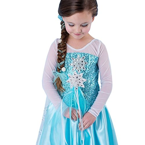 [Elsa Sequins Snowflake Dress (6-7 years old)] (Ice Skating Dress Costumes)