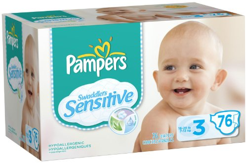 Pampers Swaddlers Sensitive Diapers Super Pack -- size: 3