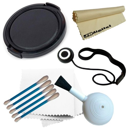 37Mm Snap-On Lens Cap Cover + Lens Cap Keeper Holder + Deluxe Cleaning Kit (High Quality Blower Brush + 5 Cotton Swabs + Soft Microfiber Cleaning Cloth) + Bonus Jb Microfiber Lens Cleaning Cloth For Camera Lenses With 37Mm Filter Threads