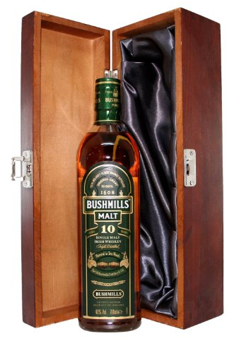 Bushmills 10 Year Old Malt Whisky presented in a Luxury Hinged Stained Wooden Box - 700ml