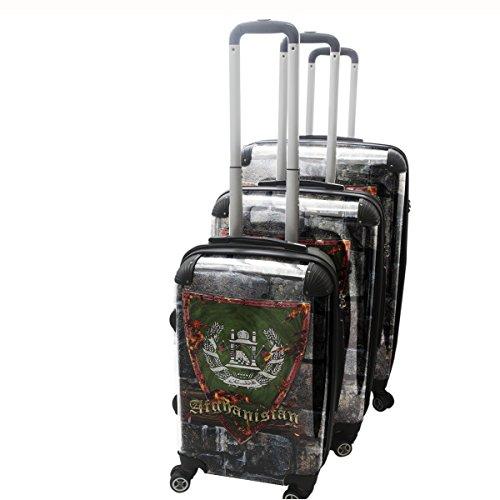Blason Afganistan, 3 pièce Set Luggage Bagage Trolley de Voyage Rigide 360 degree 4 Roues Valise avec Echangeable Design Coloré. Grandeur: Adapté à la Cabine S, M, L
