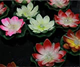LOGUIDE 12pcs Firefly Trendy Hip Unique Waterproof Floating LED Lotus Light, Color-changing Flower Night Lamp /Pond /Garden/house Lights for Pool /Party Fancy Ideal Novel Creative Gift for Christmas