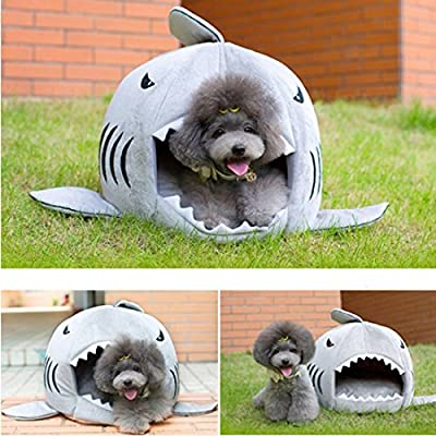 Cute Grey Shark Round House Puppy Bed for Small Cat Dog Cave Removable Cushion, Pet Collapsible Indoor House Bed Shelter (Small)