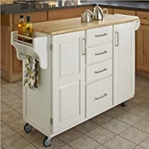 Hot Sale Home Styles 9100-1021 Create-a-Cart 9100 Series Cuisine Cart with Natural Wood Top, White, 52-1/2-Inch