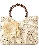 Women's Summer Straw Flower Bead Handmade Beach Shopper Tote Bag Handbag