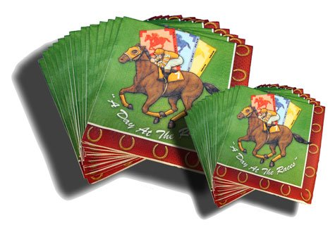 "HORSE RACING PARTY NAPKINS ""DAY AT THE RACES"""
