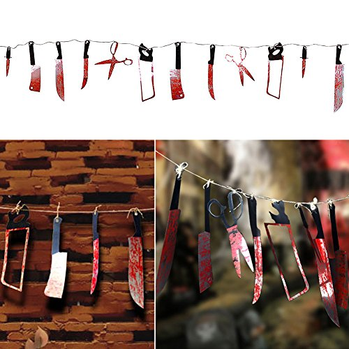 7.5 ft Long Paper Bloody Splatter Halloween Horror Scary Metallic Butcher Knife Chainsaw Weapon Killer Tools Garland Party Decoration Haunted House Banner (Butchers Supply compare prices)