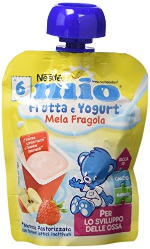 Nestlé Mio Merenda Frutta e Yogurt da Spremere Mela e Fragola senza Glutine da 6 Mesi - 16 pezzi da 90 ml [1440 ml]
