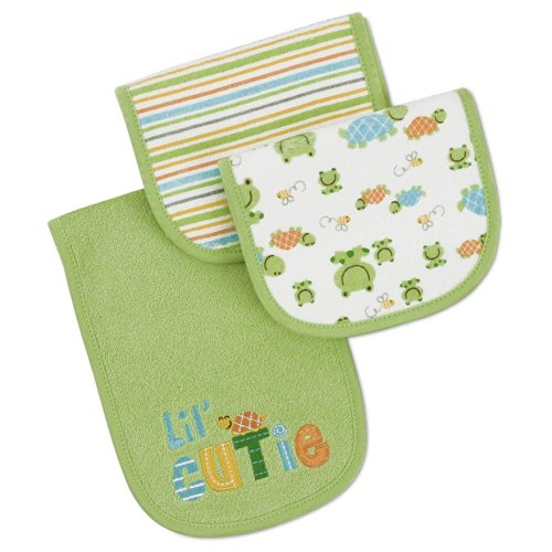 Gerber 3 Pack Little Cutie Burpcloth - Green front-576298