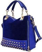 Hee Grand Femme Couture Sac de Velours Paquet de Rivet Chinois Bleu