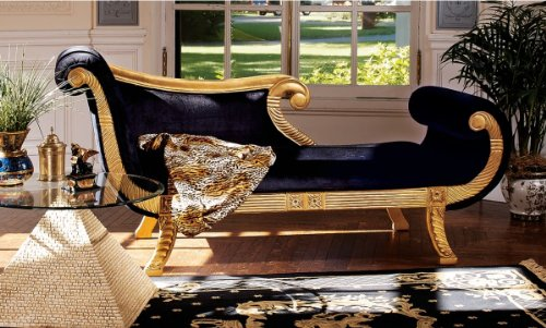 Ancient Egyptian Antique Replica Hand-carved Royal Chaise Lounge Indoor 0