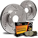 Max KT055431 Front Premium Slotted & Drilled Rotors and Ceramic Pads Combo Brake Kit