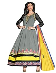Georgette Grey Anarkali Semi Stitched Embroidered Dress - B01A5OK2AS
