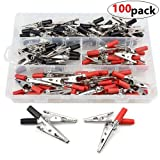 WMYCONGCONG 100 PCS Metal Alligator Clips Electrical Test Clamps with Plastic Hands Red Black Kit (Color: 100 Pcs Red Black)