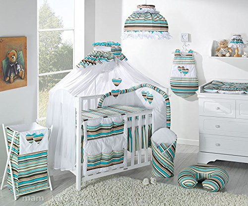 10-Piece-Baby-Bedding-Set-to-fit-Cot-Bed140-x-70-cm-Stripes-Dark-Green