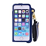 Meitu Angelia 2014 Fashion Unique Sleek Wallet Design/ Support Frame Stand Function Leather Phone Case Neck Hanging Wear Strap Rope Cover for Iphone for Iphone 5 / Iphone 5s (navy blue) by NYC Leather Factory Outlet