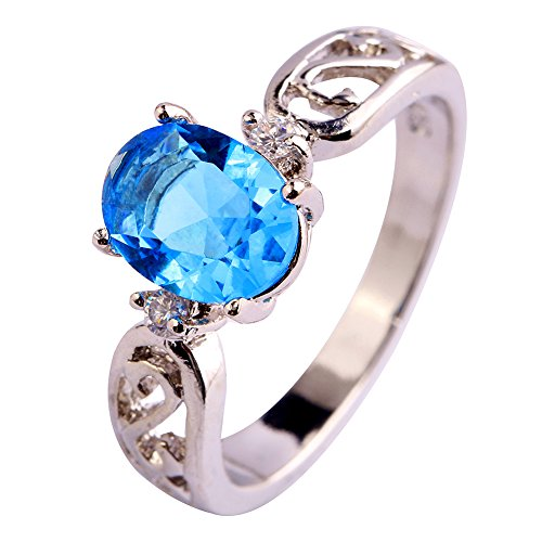 [Psiroy Women's 925 Sterling Silver 2ct Blue Topaz Filled Ring] (Good Costumes For Two Best Friends)