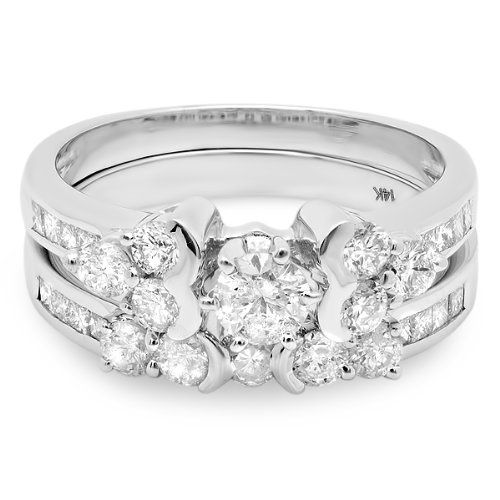 1.65 Carat (ctw) 14k White Gold Brilliant Round Cut Diamond Ladies Bridal Engagement Ring Set
