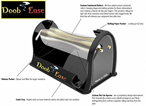 Premium Cigarette Doobie Roller by Doob Ease The Rolling Machine for Perfect Sized Rolls Every Time with Shake Catcher (Doobie, Black)- See Color and Roll (How To Make A Cigarette Holder)