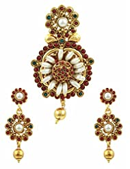Ethnic Pendant Set With Rice Pearls