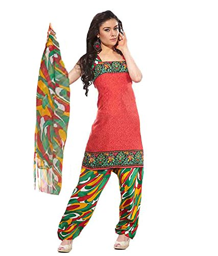 Vineberi Beautiful And Classic Unstitched Printed Crepe Red Salwar Suit Dress Material With Dupatta  available at amazon for Rs.399
